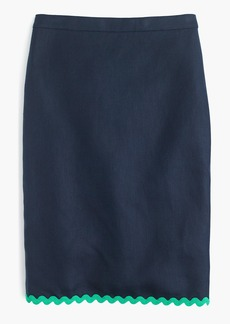 J.Crew Linen pencil skirt with rickrack trim