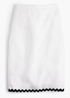 Linen pencil skirt with rickrack trim
