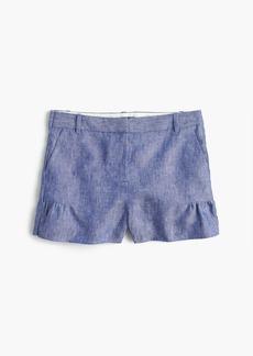 Linen short with ruffle trim