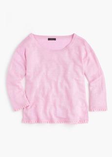 J.Crew Linen sweater with pom-pom trim