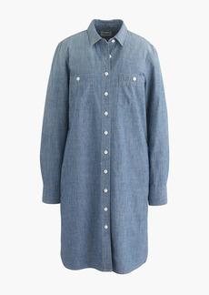 Petite long-sleeve chambray shirtdress
