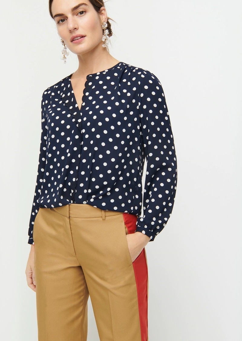 J.Crew Long-sleeve drapey scalloped top in polka dot