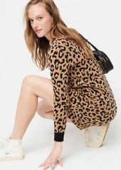 J.Crew Long-sleeve mini sweater-dress in leopard