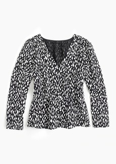 J.Crew Long-sleeve peplum top in printed satin-crepe