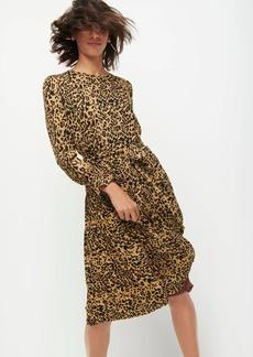 J.Crew Long-sleeve pleated dress in leopard