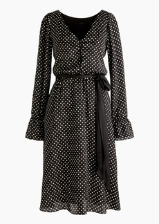 Long-sleeve polka dot dress