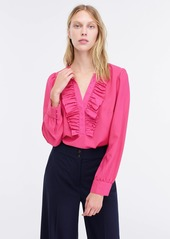 J.Crew Long-sleeve ruffle-front top in satin crepe