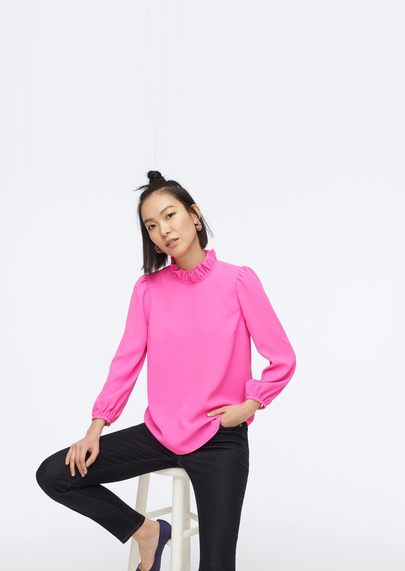 J.Crew Long-sleeve ruffle-neck top in 365 crepe