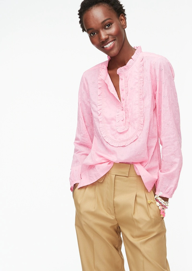 J.Crew Long-sleeve ruffled shirt in floral eyelet