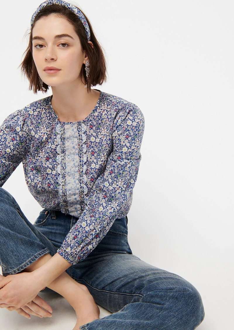 J.Crew Long-sleeve scalloped blouse in mixed Liberty® prints