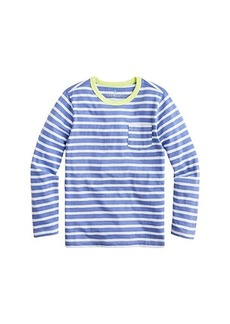 J.Crew Long Sleeve Slub Classic Sky Stripe Tee (Toddler/Little Kids/Big Kids)