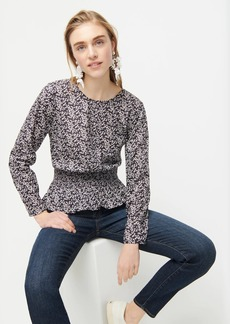 J.Crew Long-sleeve smocked-waist blouse in Liberty® Misti Valeria print