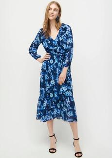 J.Crew Long-sleeve wrap dress in watercolor begonias print