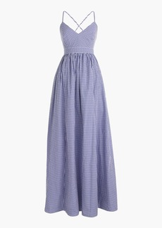 Long spaghetti-strap dress in gingham
