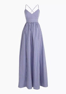 Petite long spaghetti-strap dress in gingham