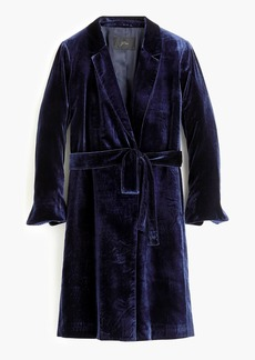 J.Crew Long wrap coat in drapey velvet