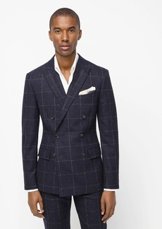 J.Crew Ludlow Slim-fit double-breasted suit jacket in windowpane English wool