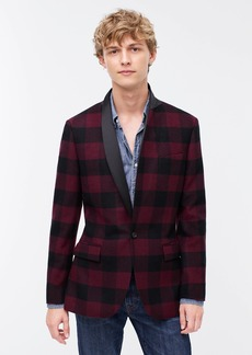 J.Crew Ludlow Slim-fit shawl-collar dinner jacket in buffalo check Italian wool