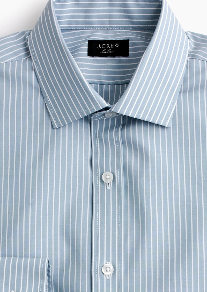 Jew Ludlow Stretch Two Ply Easy Care Cotton Dress Shirt In Blue