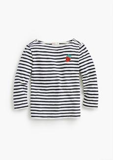 J.Crew Madewell X crewcuts kids' strawberry embroidered striped T-shirt