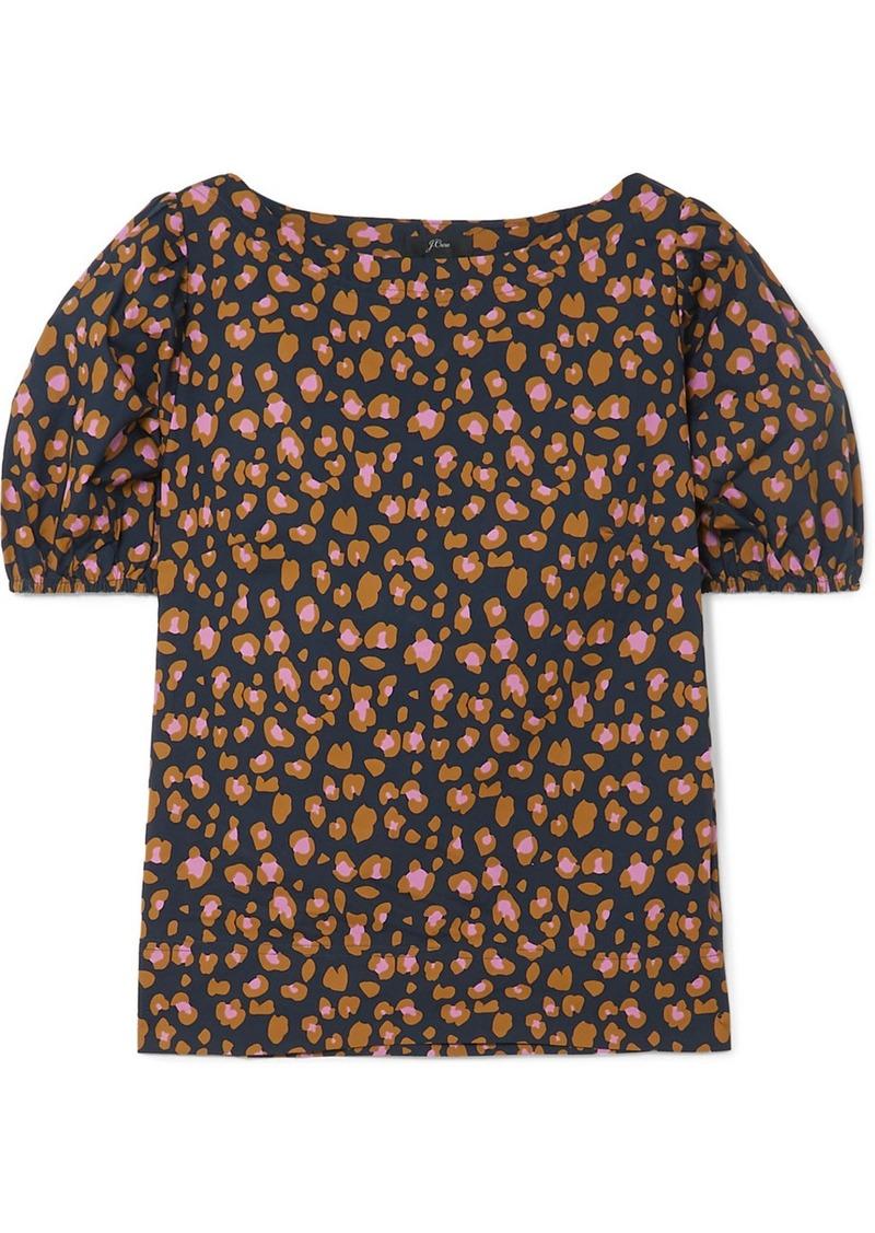 J.Crew Marlene Leopard-print Cotton-poplin Top