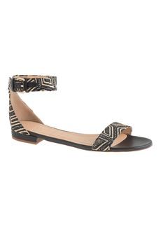 J.Crew Maya raffia ankle-strap sandals