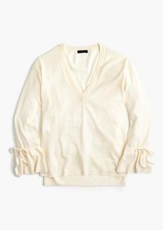 J.Crew Merino V-neck sweater with drawstring sleeves