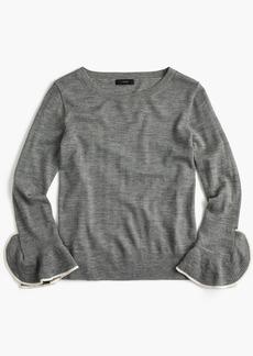 J.Crew Merino wool crewneck with ruffle sleeves