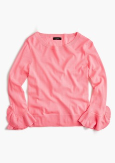 J.Crew Merino wool crewneck with ruffle sleeves