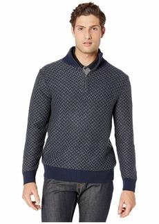 J.Crew Merino Wool Herringbone Jacquard Half-Zip Sweater