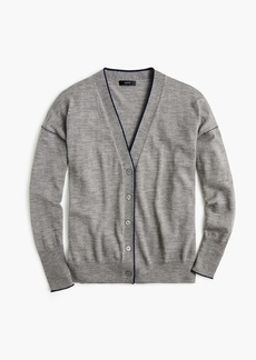 J.Crew Merino wool tipped cardigan sweater
