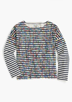 Michael De Feo™ for J.Crew striped T-shirt with painted flowers