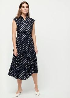 J.Crew Midi shirt dress with pleated skirt in dot print