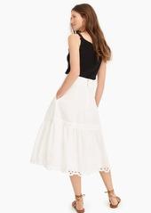 J.Crew Midi skirt with eyelet trim in organic cotton