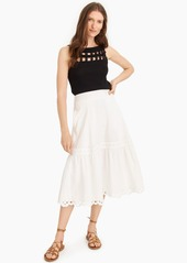 J.Crew Midi skirt with eyelet trim in organic cotton