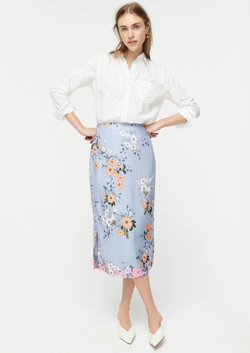 J.Crew Midi slip skirt in grid floral