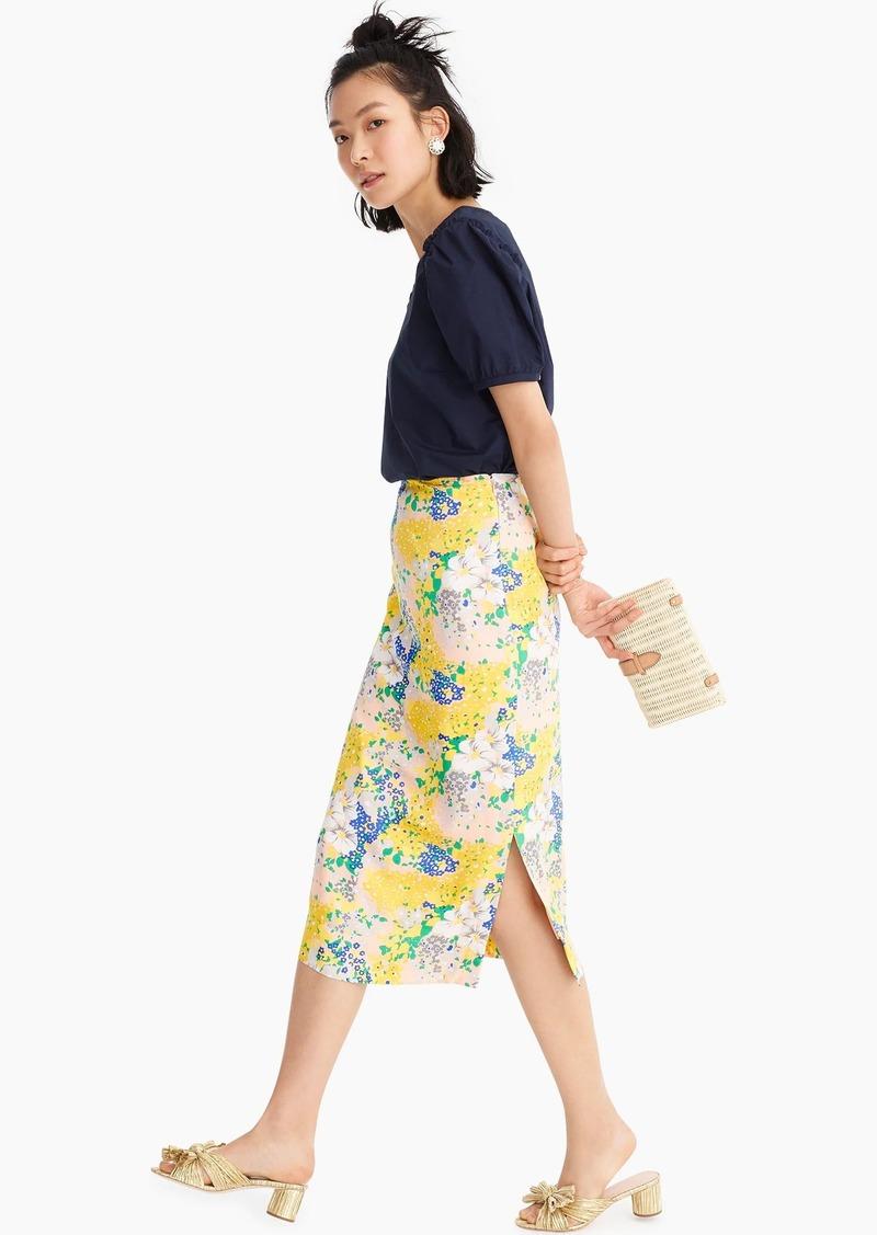 J.Crew Midi slip skirt in lemon floral