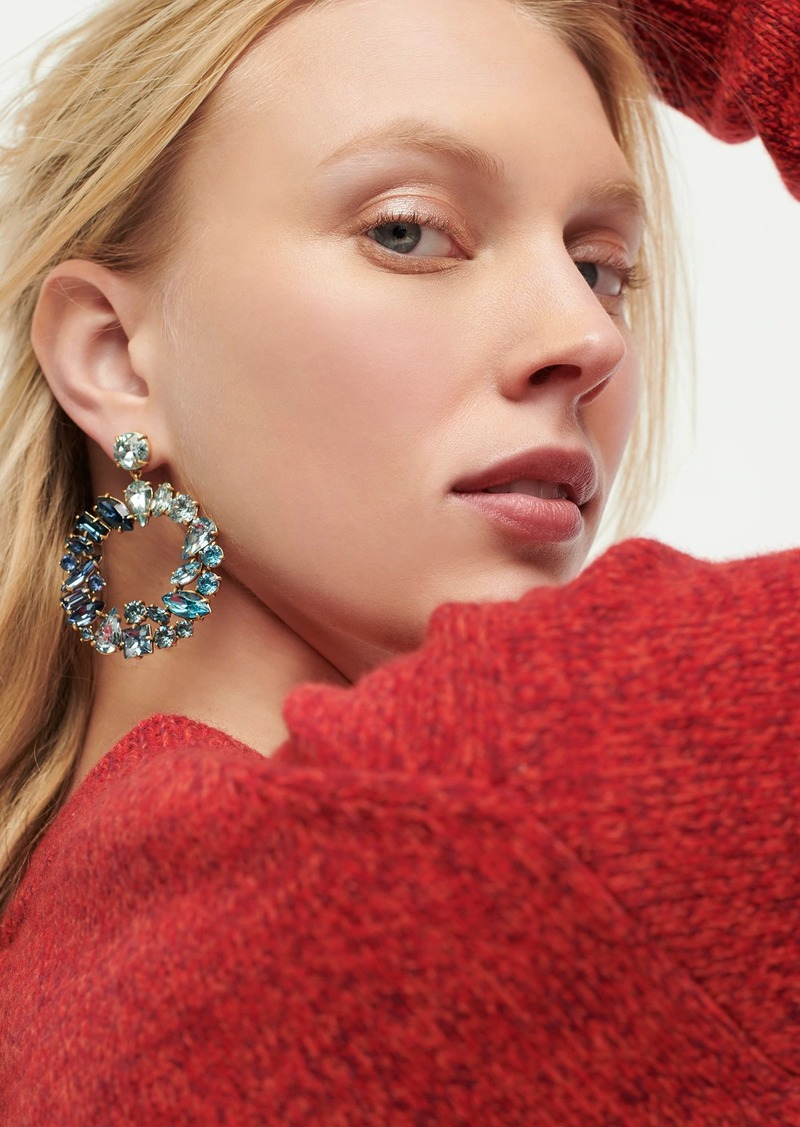 J.Crew Mixed crystal circle statement earrings