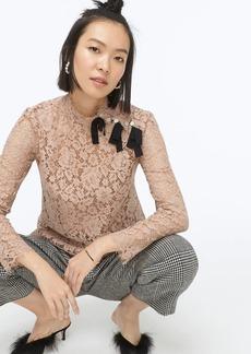 J.Crew Mockneck top in floral lace