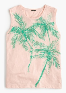 Muscle tank top with sequin palm trees