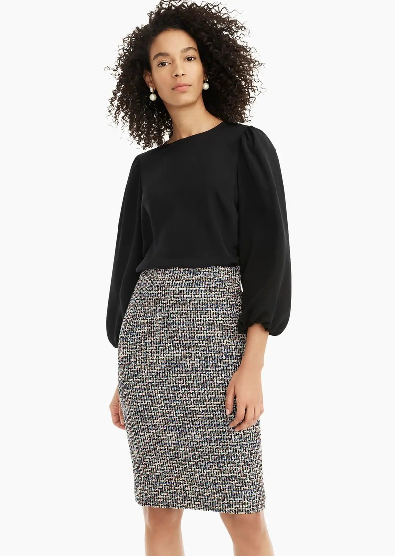 J.Crew No. 2 Pencil® skirt in black metallic tweed