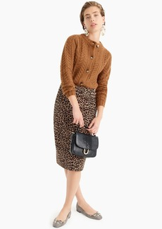 J.Crew No. 2 Pencil® skirt in leopard bi-stretch cotton