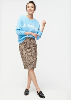 J.Crew No 2. Pencil® skirt in leopard bi-stretch cotton