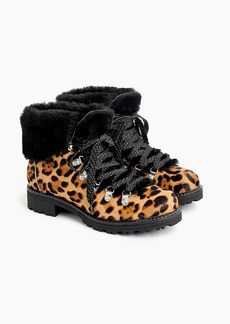 J.Crew Nordic boots in leopard calf hair