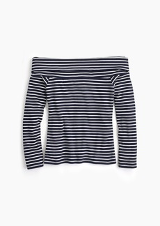 J.Crew Off-the-shoulder foldover top in stripe