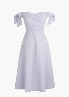Tall tie-shoulder dress in seersucker