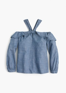 Tall Off-the-shoulder tie-neck top in chambray