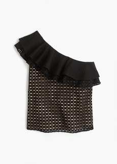 J.Crew One-shoulder ruffle top in eyelet