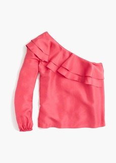 J.Crew One-shoulder silk shantung top
