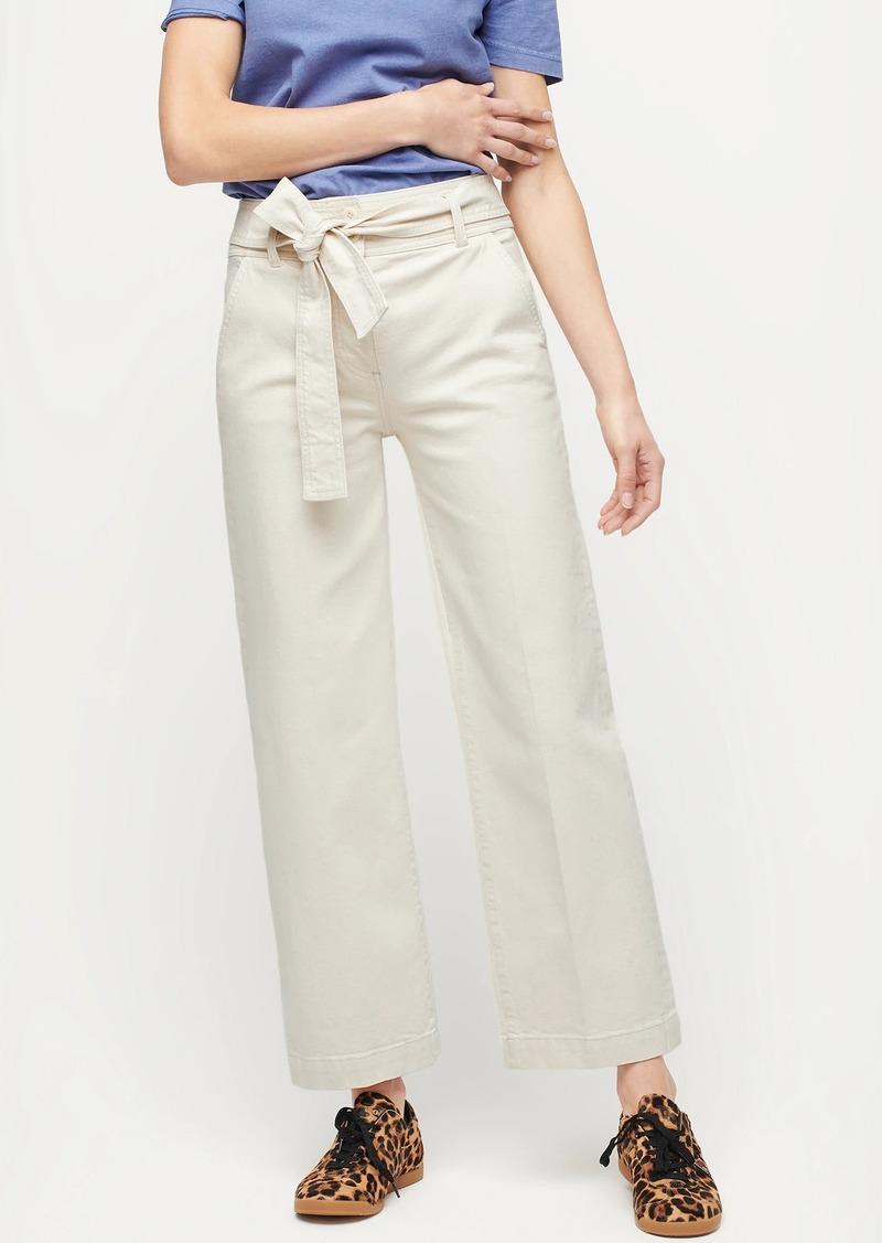 J.Crew Paper-bag-waist slim wide-leg jean in ecru